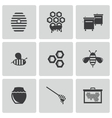 Black honey icons set vector