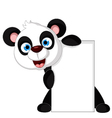 Panda cartoon holding blank sign vector