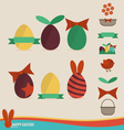 Happy easter cards with easter eggs ribbon vector