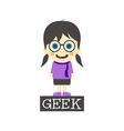 Geek girl cartoon vector