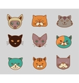 Collection of cat line and color icons vector