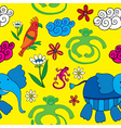 Animals and flowers vector