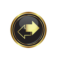 Arrows icon on black with gold button vector