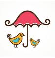 Couple of cute birds under pink umbrella vector