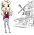 Fashion girl near moulin rouge in paris vector