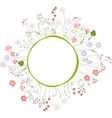 Blank frame with different flowers and herbs vector