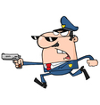 Police officer running with a gun vector