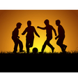 Four boys playing football vector