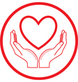 Heart and hands icon vector