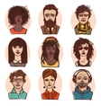 Sketch people portraits colored set vector