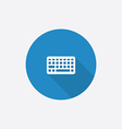 Keyboard flat blue simple icon with long shadow vector