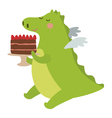 Dragon with pie vector