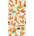 Cartoon seamless pattern with cute foxes forest vector