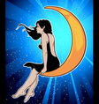 Girl on moon vector