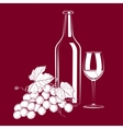 Vintage still life with wine and grapes vector