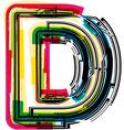 Colorful grunge font letter d vector