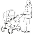 Walking family silhouette 01 vector