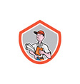 Builder carpenter with plans shield cartoon vector