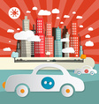 Paper cars in city - town abstract flat design vector