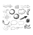 Set of hand drawn doodle arrows speech bubbles etc vector