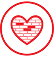 Heart and stone wall icon vector