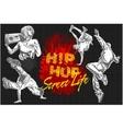 Hip hop and break dancers on dark background vector