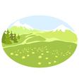 Meadow in a mountain valley vector
