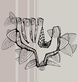 Greeting contoured black hand vector
