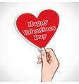 Valentine heart word in hand vector