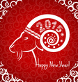 Happy new year red card with goat horn vector
