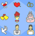 Wedding simple icon pack vector