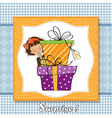 Cute little girl hidden behind boxes of gifts vector