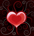 Red glossy heart on background vector