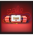 Sale poster with explosives alarm clock vector