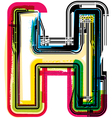 Colorful grunge font letter h vector