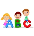 Children cartoon with abc alphabet vector