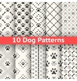 Set of animal seamless pattern of paw footprint vector