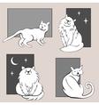Funny cats sketches set three vector