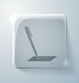 Pen writing on a sheet glass square icon vector