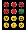 Symbols of hazard black background vector