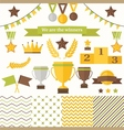 Trophy and winners icons set vector