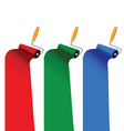 Paint roller in three color vector