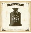 Vintage western money bag vector