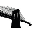 New york brooklyn bridge black silhouette vector