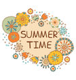 Summer time hand drawn lettering with flowers vector