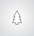 Fir-tree outline symbol dark on white background vector