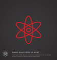Atom outline symbol red on dark background logo vector