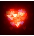 Blurred defocused lights background with hearts vector