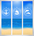 Set labels with beach summer cards vector