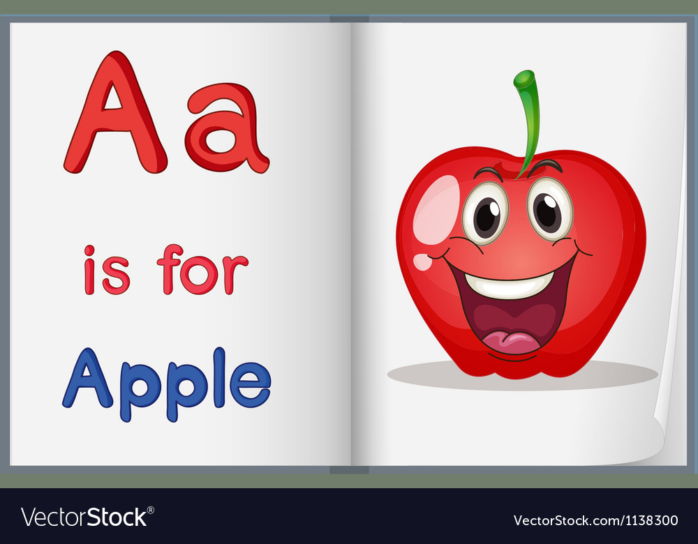 Book with an apple vector   Price: 1 Credit (USD $1)